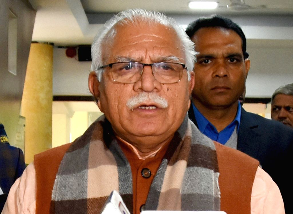 New Delhi: Haryana Chief Minister Manohar Lal Khattar talks to press after attending the Pre Budget Meeting of Central Government in New Delhi on Dec 18, 2019. (Photo: IANS) - Manohar Lal Khattar