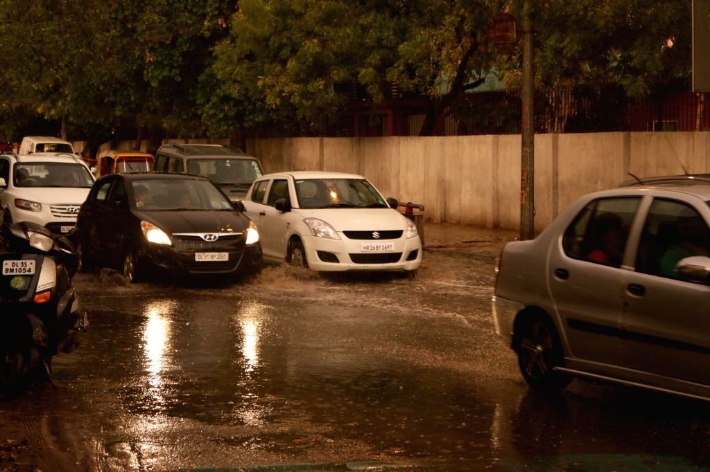 Heavy rains lash national capital on March 7, 2015.