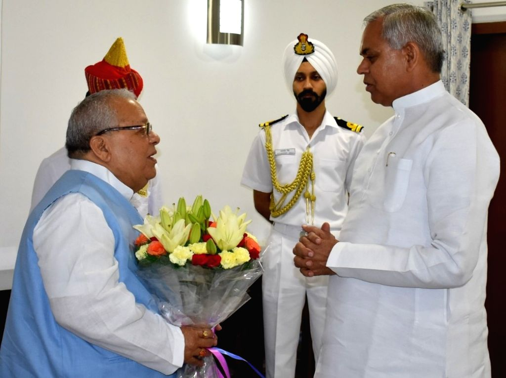 New Delhi: Himachal Pradesh Governor designate Kalraj Mishra meets Gujarat Governor designate Acharya Devvrat at Gujarat Bhawan, in New Delhi on July 20, 2019. (Photo: IANS) - Kalraj Mishra