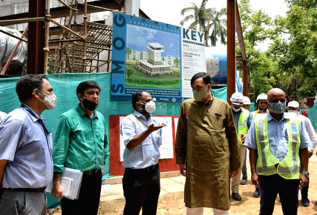 New Delhi :  Hon???ble Environment  Minister Gopal Rai visit construction site of Smog Tower at Baba Kharak Singh Marg ,Connaught  Palace  in New Delhi on Thursday June 10 June 2021 - Gopal Rai and Kharak Singh Marg