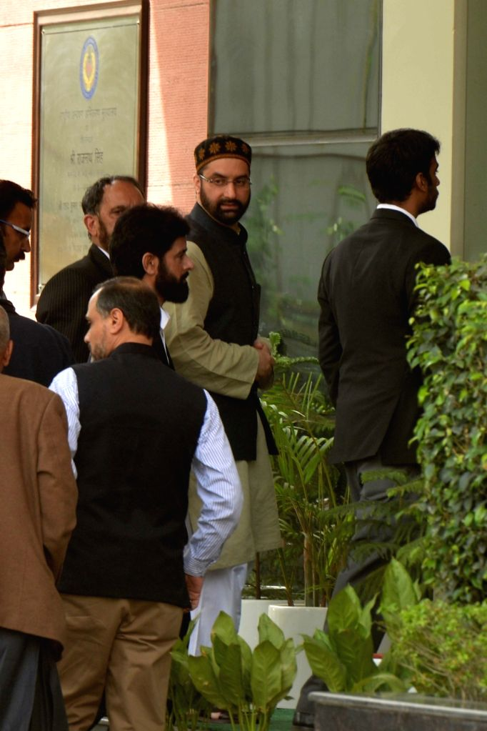 New Delhi: Hurriyat Conference Chairman Mirwaiz Umer Farooq arrives to appear before the National Investigation Agency (NIA) for a second consecutive day, in New Delhi, on April 9, 2019. As the investigators were not satisfied with the answers given