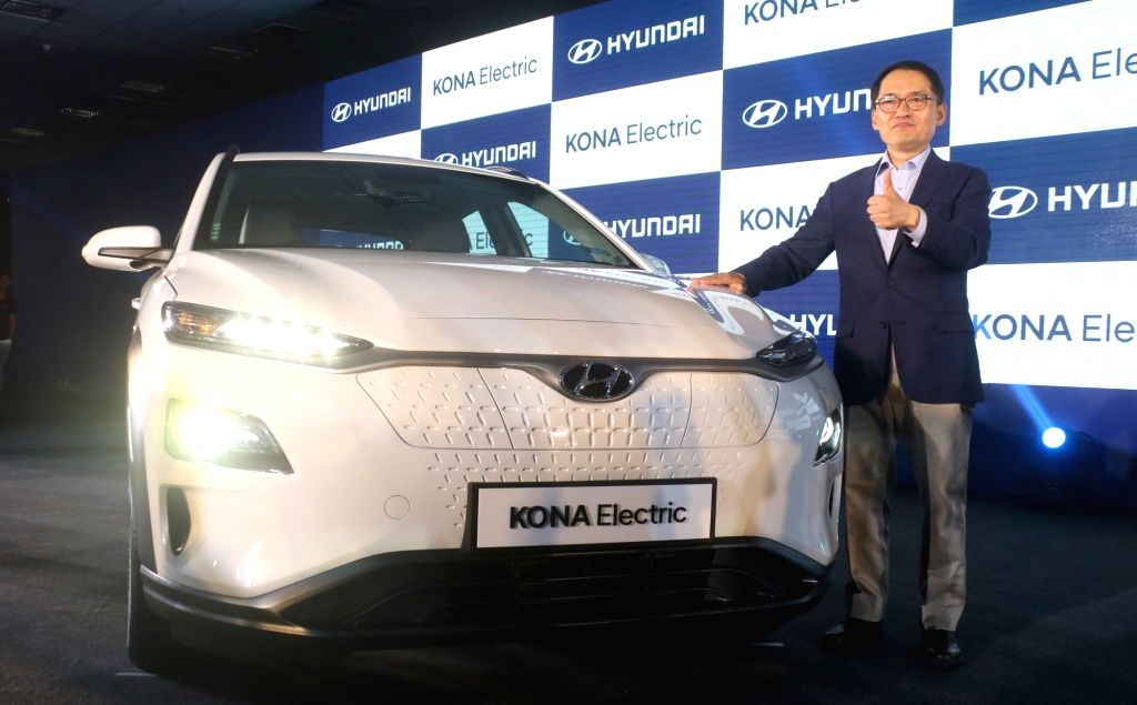 New Delhi: Hyundai Motor India Managing Director SS Kim at the launch of Hyundai Kona Electric SUV in New Delhi, on July 9, 2019. (Photo: IANS)