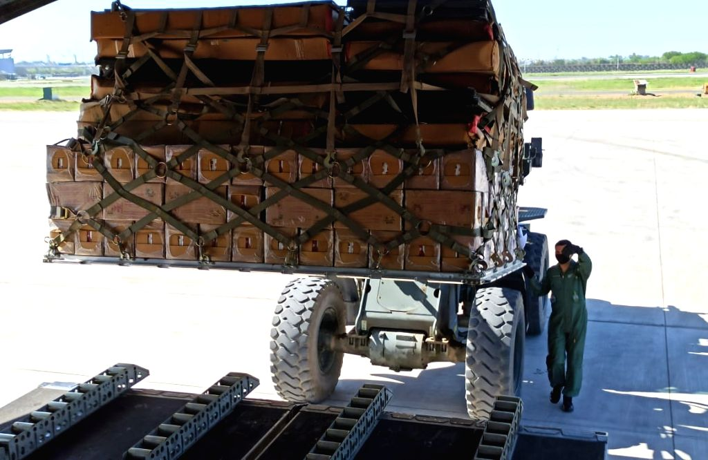 New Delhi: IAF aircraft being loaded with essential medical supplies which include Personal Protective Equipment, Hand sanitizers, surgical gloves, thermal scanners etc to be airlifted to various parts of the country as part of IAF's assistance to