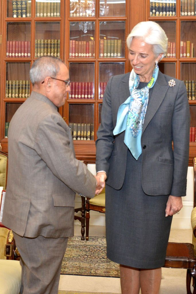 IMF Managing Director Christine Lagarde calls on President Pranab Mukherjee at Rashtrapati Bhavan, in New Delhi on March 16, 2015.