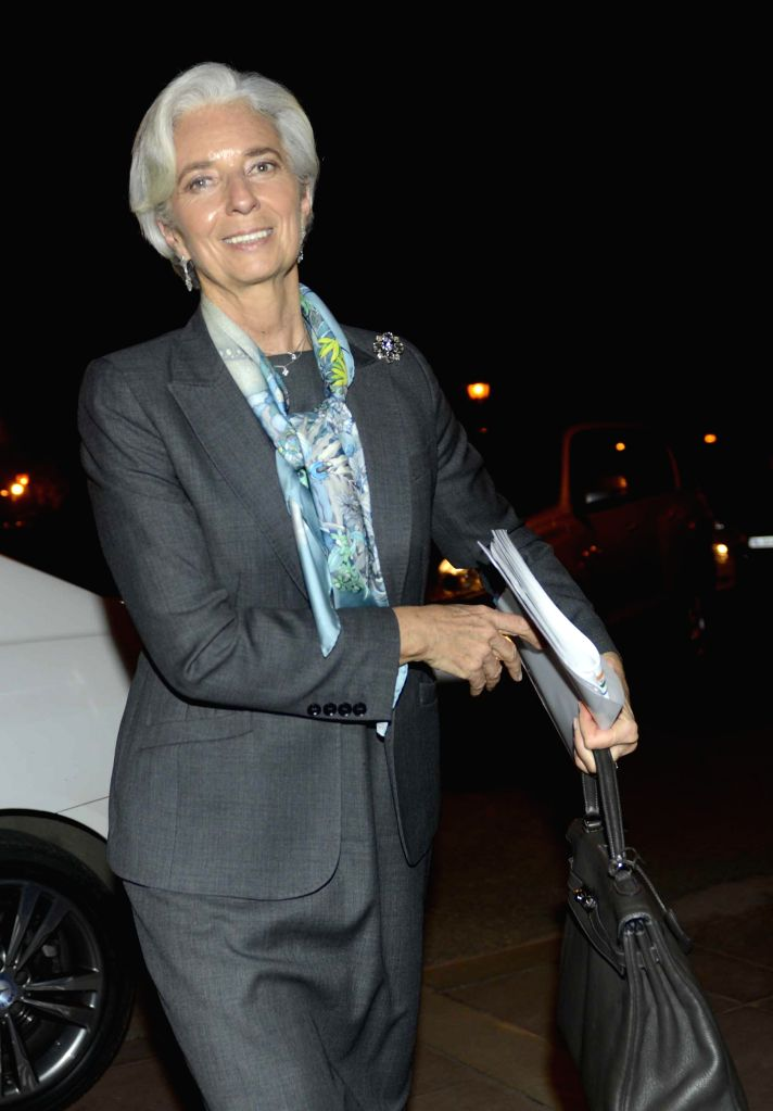 IMF Managing Director Christine Lagarde arrives at North Block in New Delhi, on March 16, 2015.