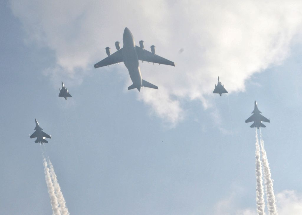 New Delhi : India Air Force  air crafts displaying their flying skill during the full dress rehearsal for the 89th Air Force Day parade at Hindan Air base Ghaziabad on Wednesday october 06, 2021.