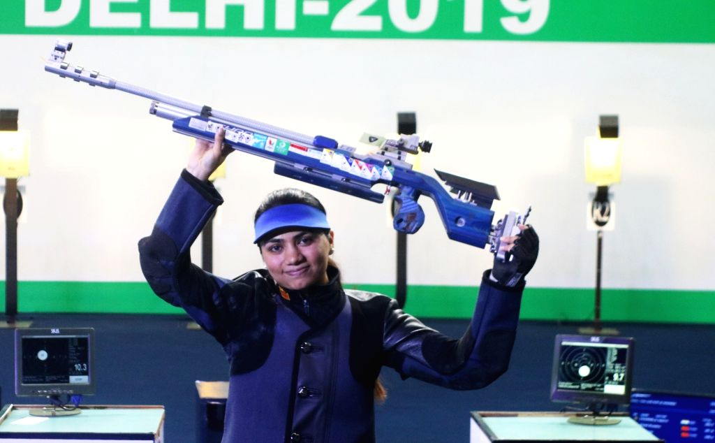 New Delhi: India's Apurvi Chandela, who won the first gold for India at the ISSF World Cup by finishing on top of the women's 10 metre Air Rifle category, in New Delhi on Feb 23, 2019. (Photo: IANS)