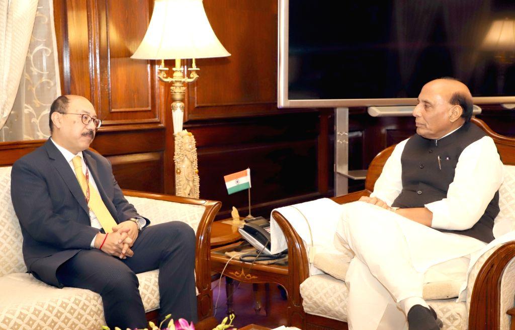 New Delhi: Indian Ambassador to USA Harsh Vardhan Shringla calls on Union Home Minister Rajnath Singh, in New Delhi, on Feb 20, 2019. (Photo: IANS/PIB) - Rajnath Singh
