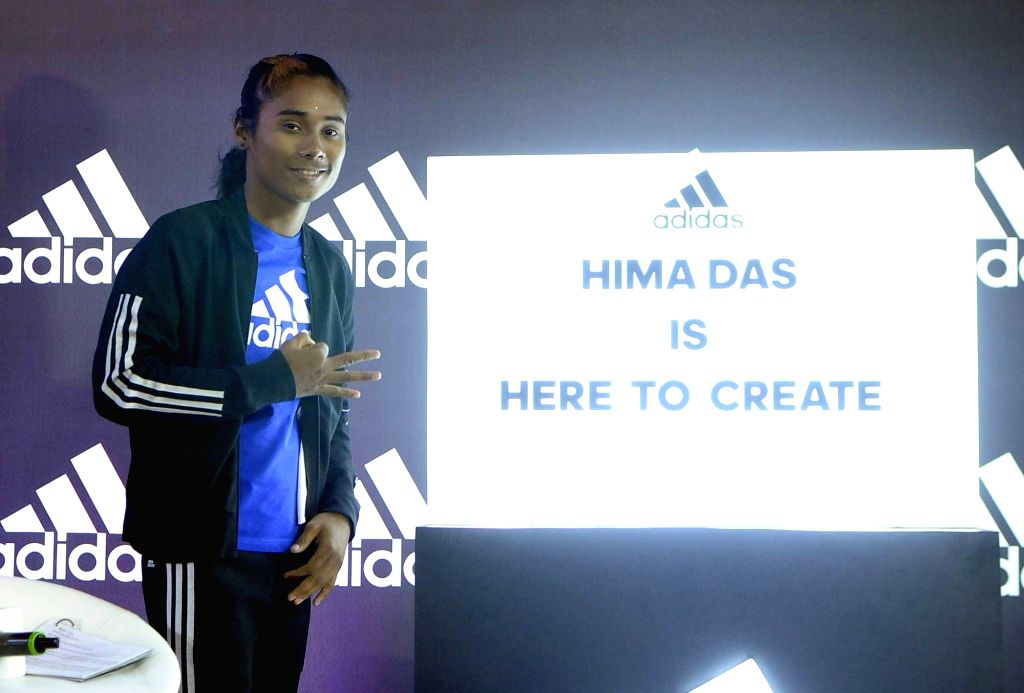 New Delhi: Indian athlete Hima Das during a press conference where she signed an endorsement deal with Adidas, in New Delhi, on Sept 18, 2018. (Photo: IANS)