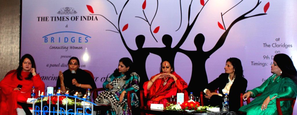 Indian classical dancer and choreographer Sonal Mansingh, social activist Shazia Ilmi and others during `Influencing Change For Women's Safety Conference` organised in New Delhi on Dec 9, .