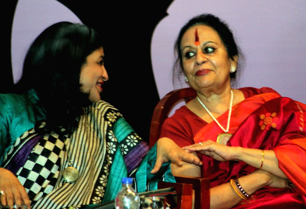 Indian classical dancer and choreographer Sonal Mansingh and social activist Shazia Ilmi during `Influencing Change For Women's Safety Conference` organised in New Delhi on Dec 9, 2014.
