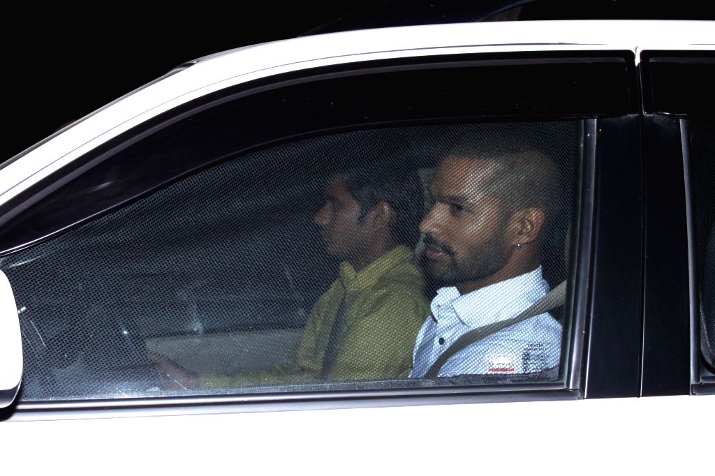 Indian cricketer Shikhar Dhawan  arrives to attend the marriage ceremony of cricketer Suresh Raina in New Delhi on April 3, 2015. - Shikhar Dhawan