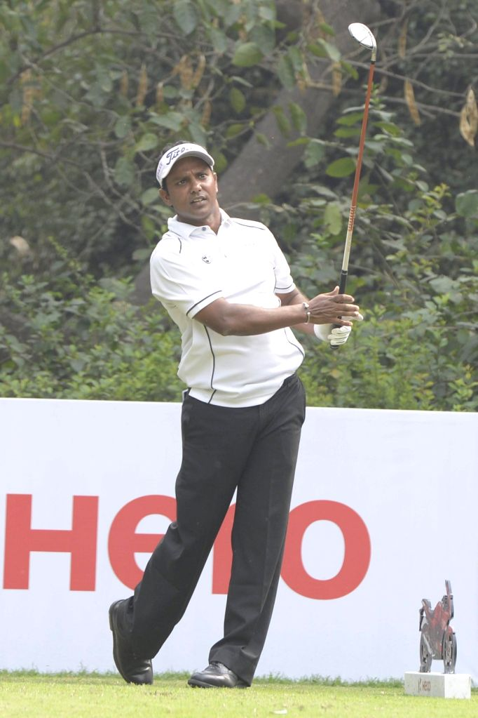 New Delhi: Indian golfer S.S.P. Chawrasia during $1.5 million Indian Open at Delhi Golf Club (DGC) in New Delhi, on Feb 20, 2015. (Photo: IANS)