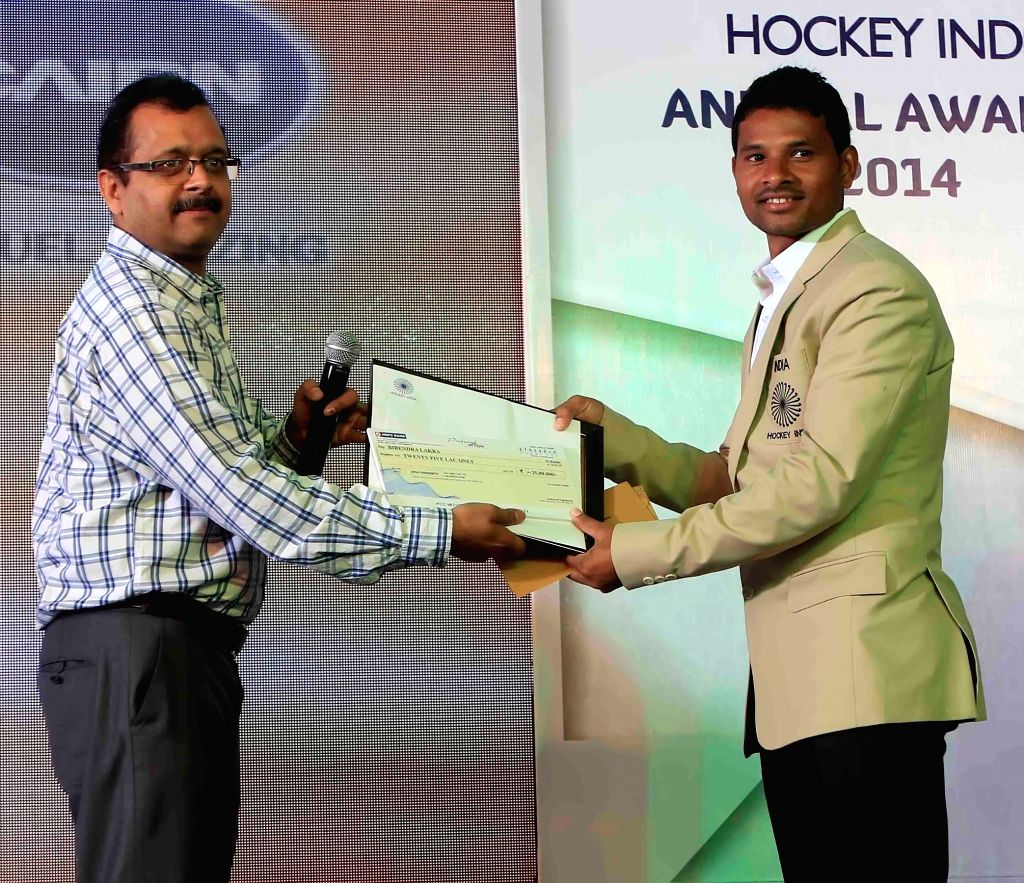 Indian hockey player Birendra Lakra honoured with a (Player of the Year Award) in his respective categorie at the inaugural of Hockey India Awards 2015 in New Delhi, on March 28, 2015.
