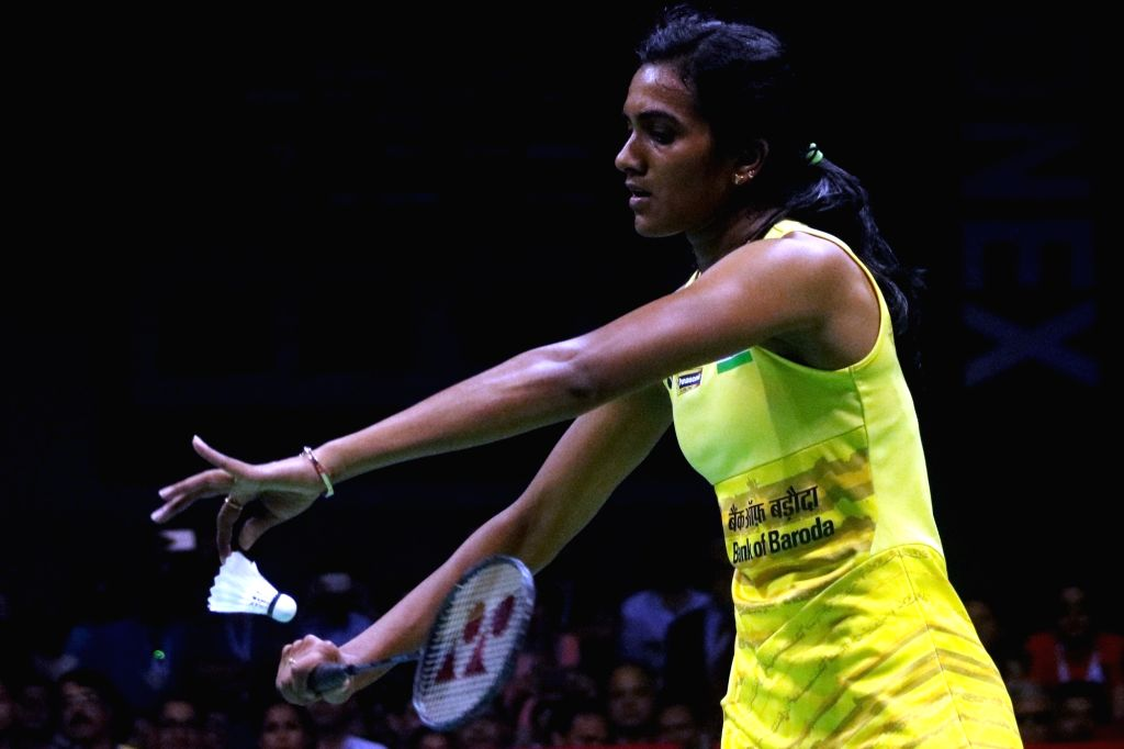 New Delhi: Indian shuttler P.V. Sindhu in action against Carolina Marin of Spain during the final match of India Open 2017 at Siri Fort Sports Complex in New Delhi on April 2, 2017. (Photo: Bidesh Manna/IANS)