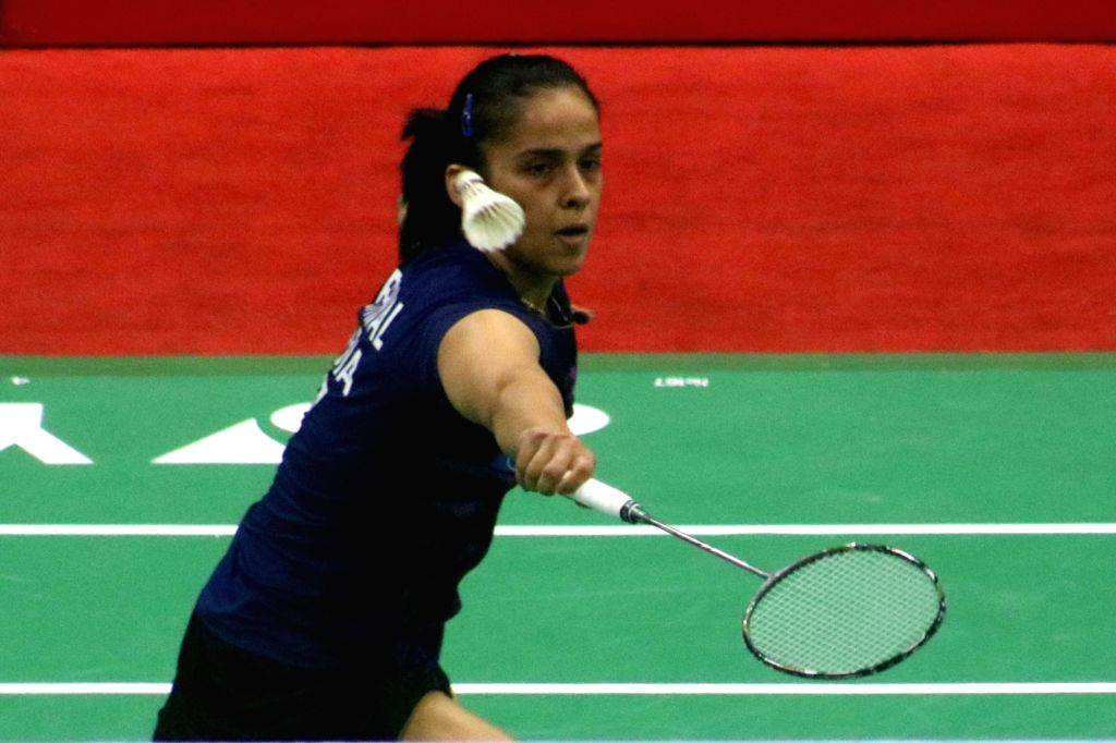 New Delhi: Indian shuttler Saina Nehwal in action against Pornpawee Chochuwong of Thailand during pre-quarter final match of India Open 2017 in New Delhi, on March 30, 2017. (Photo: Bidesh Manna/IANS)