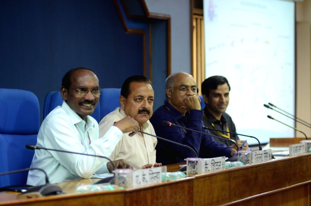 New Delhi: Indian Space Research Organisation (ISRO) Chairman K. Sivan accompanied by Union Minister of State for Atomic Energy and Space Jitendra Singh, addresses a press conference ahead of the launch of ISRO's second moon mission Chandrayaan-2, in - Jitendra Singh