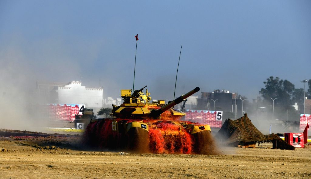 New Delhi: Indian war tank during a mock battle exercise at the inaugural session of the 11th edition of Defexpo, in Lucknow on Feb 5, 2020. (Photo: IANS)