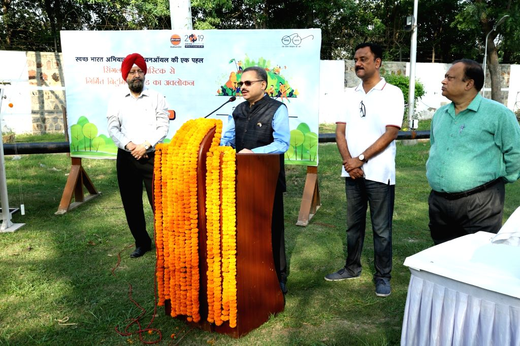 New Delhi: IndianOil Chairman Sanjiv Singh during the launch of an initiatives to Reduse, Reuse and Recycle plastics on the occasion of 150th Birth Anniversary of Mahatma Gandhi and as part of Swachh Bharat Abhiyan in New Delhi on Oct 2, 2019. (Photo - Sanjiv Singh