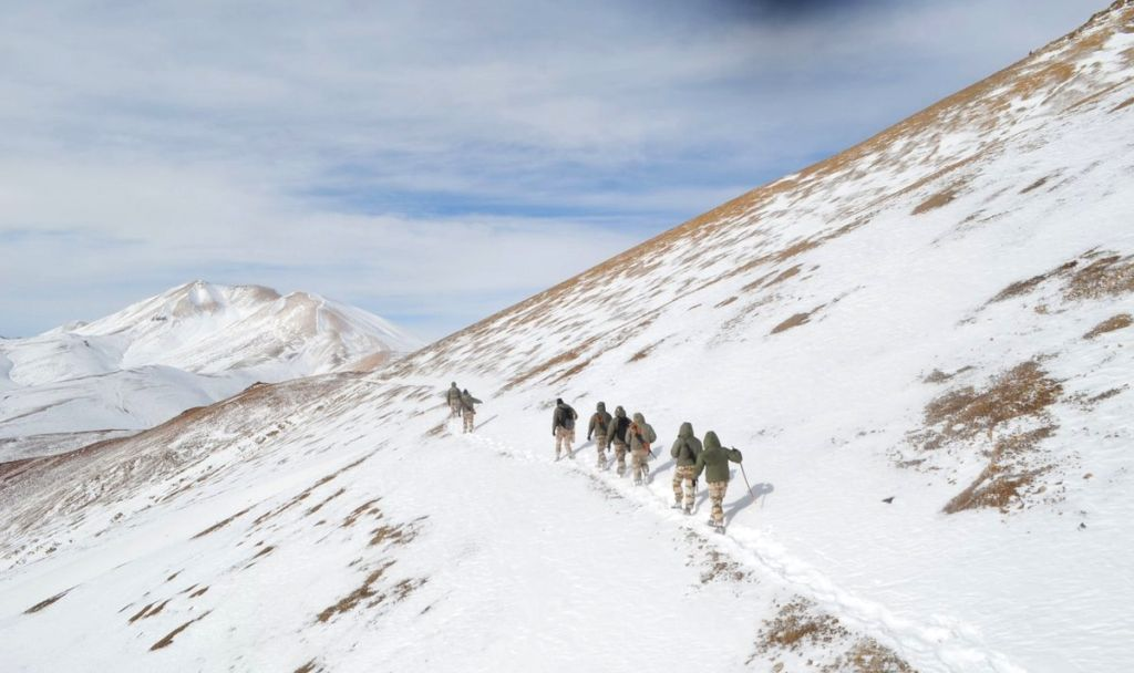 New Delhi: Indo-Tibetan Border Police (ITBP) personnel on snow ridges of Himalayas. (Photo: IANS/ITBP)