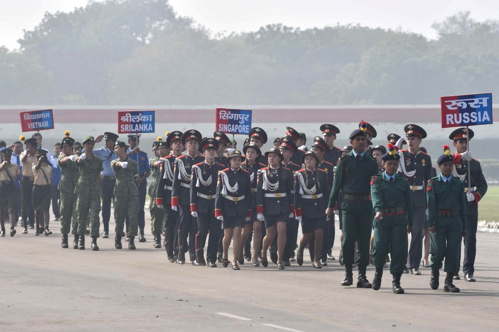 International cadets from the different countries at the NCC rally in New Delhi on Jan. 28, 2015.