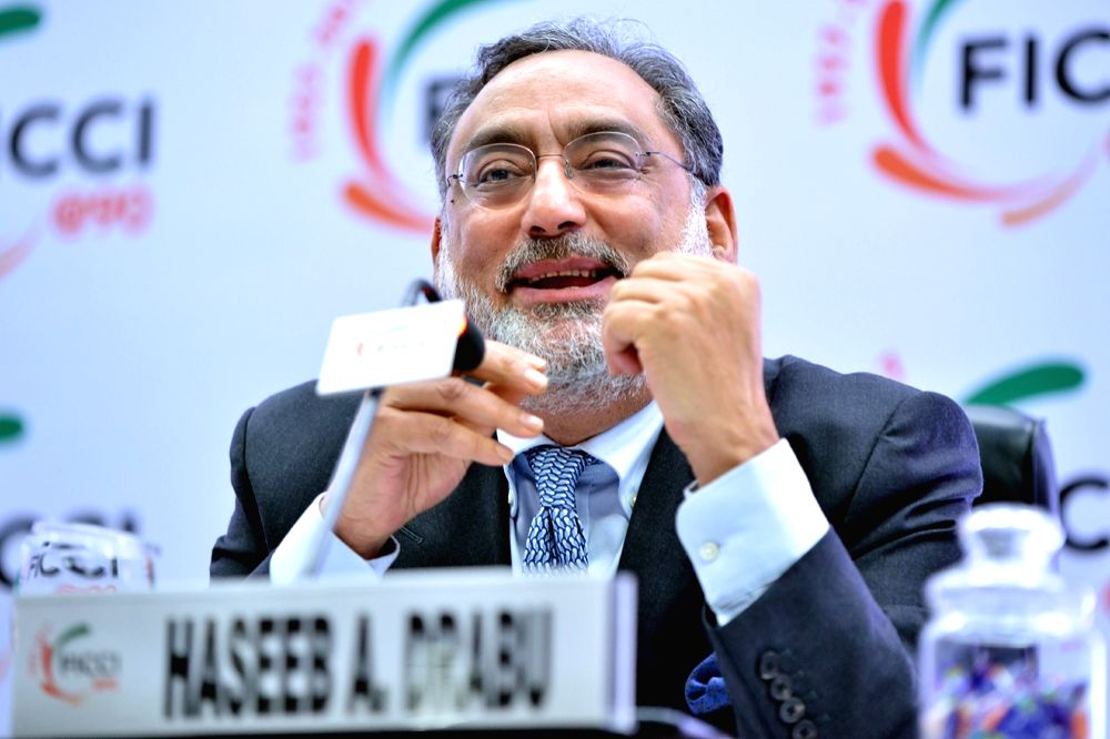 New Delhi: Jammu and Kashmir Finance Minister Haseeb Drabu addresses at Federation of Indian Chambers of Commerce and Industry (FICCI) 90th annual general meeting in New Delhi on Dec 14, 2017. (Photo: IANS) - Haseeb Drabu