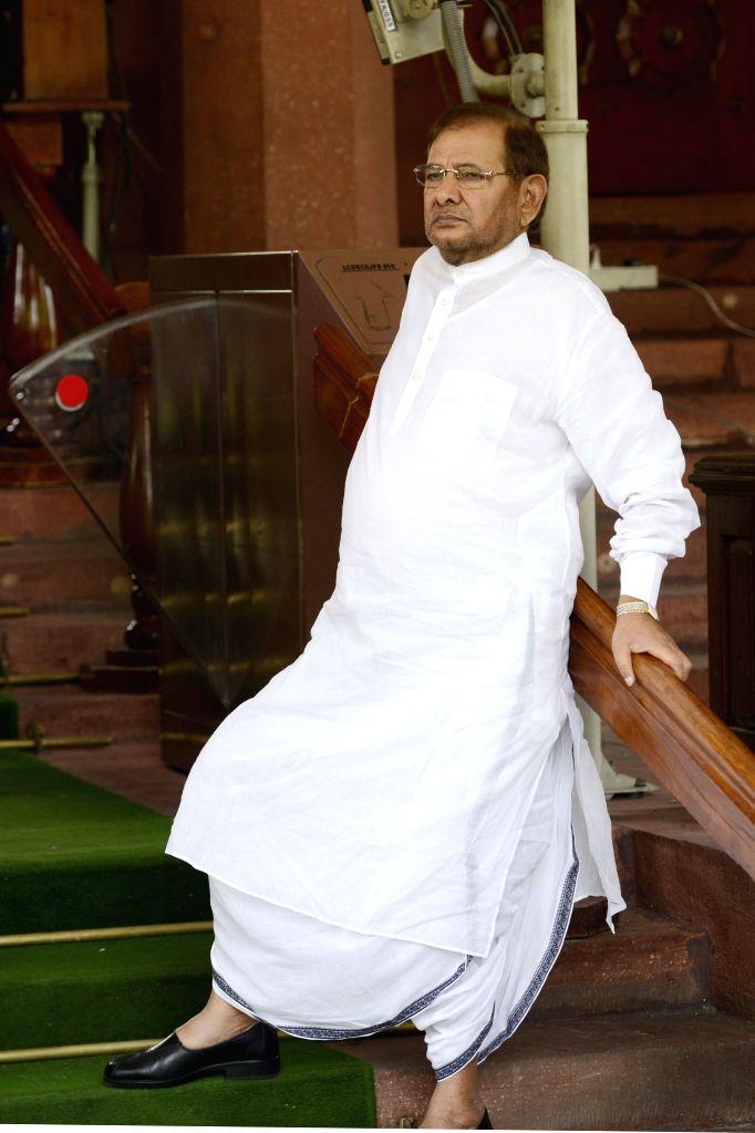 Janata Dal (United) chief Sharad Yadav at the Parliament house in New Delhi, on April 24, 2015. - Sharad Yadav