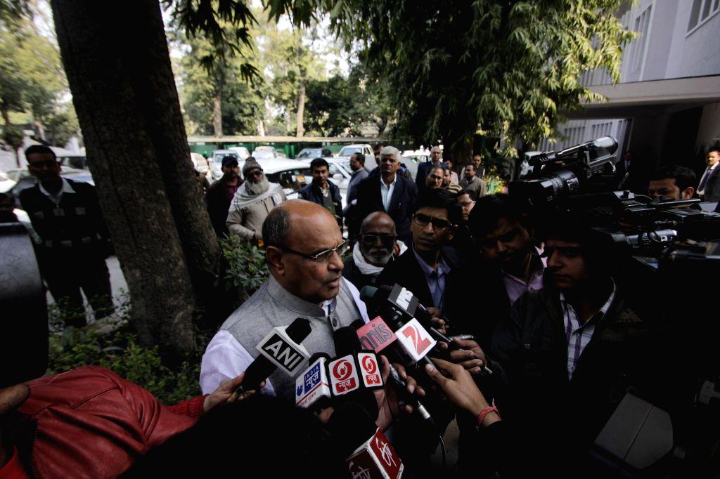 Janata Dal (United) general secretary K C Tyagi taks to journalists at Bihar Bhavan in New Delhi on Feb 11, 2015.
