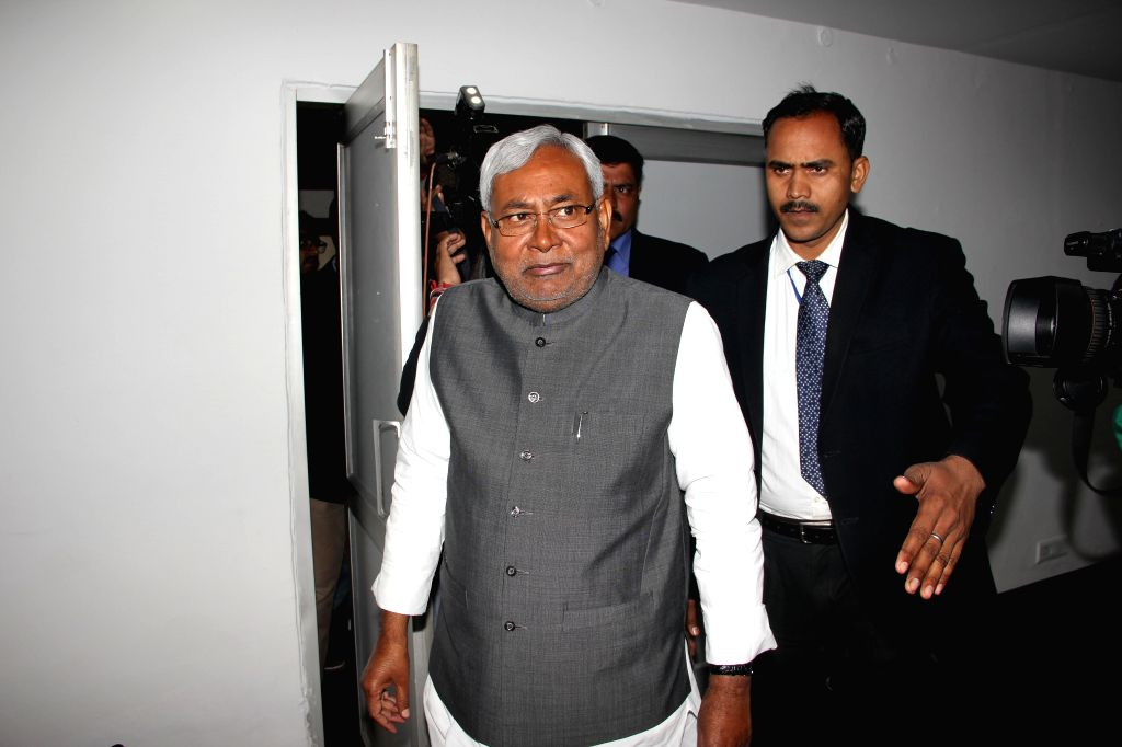 Janata Dal (United) leader and former Bihar chief minister Nitish Kumar arrives to attend a meeting at Bihar Bhavan in New Delhi on Feb 11, 2015.
