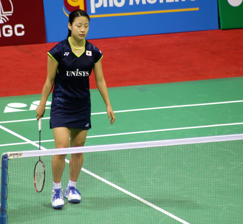 Japanese badminton player Nozomi Okuhara during a Yonex Sunrise Indian Open Badminton Championship match against her Spanish counterpart in New Delhi on March 27, 2015.