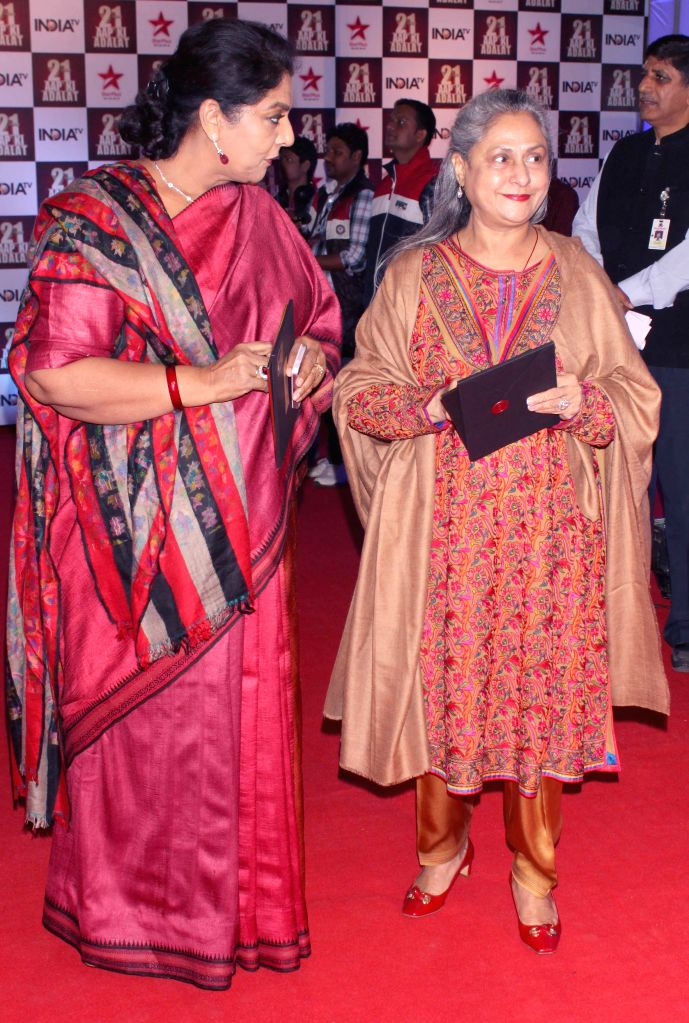 Jaya Bachchan and Renuka Chowdary during a programme organised to celebrate 21 years of a `Aap Ki Adalat` a TV show at Pragati Maidan in New Delhi on Dec 2, 2014. - Jaya Bachchan