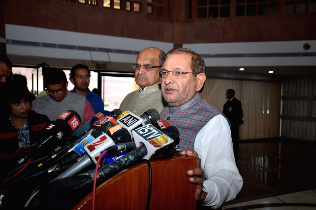 New Delhi: JD(U) chief Sharad Yadav and party general secretary K C Tyagi during a press conference after an all party meeting in New Delhi, on Nov 25, 2015.