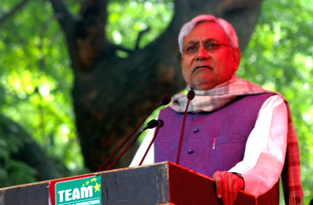 JD(U) leader Nitish Kumar addresses during a programme organised at Jantar Mantar in New Delhi, on Dec 22, 2014. - Nitish Kumar