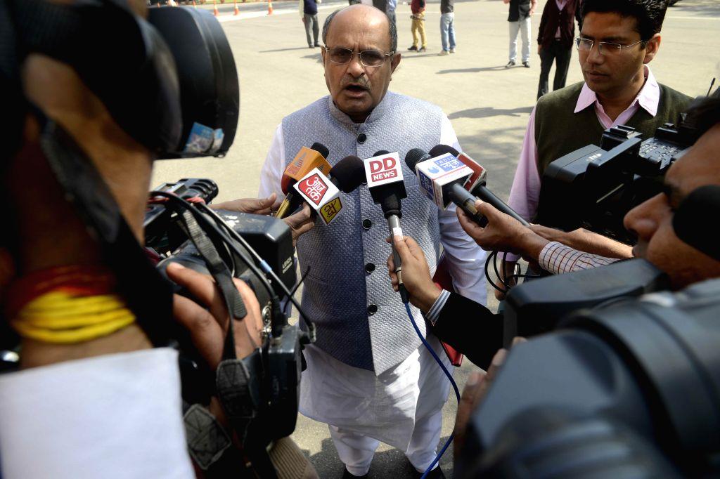 JD(U) MP KC Tyagi talks to press at the Parliament in New Delhi, on March 11, 2015.
