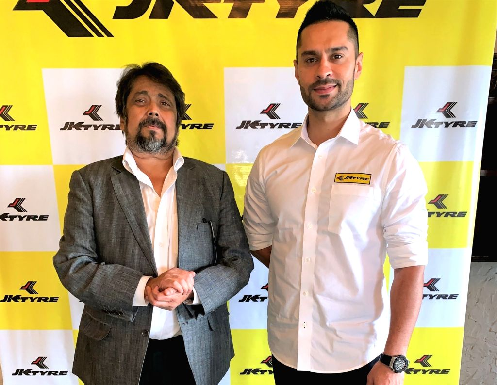 New Delhi: JK Tyre Head- Motorsport Sanjay Sharma with rally driver Gaurav Gill during a programme where JK Tyre joined hands with the three-time Asia Pacific and six times Indian National Rally champion for its revamped rallying programme, New Delhi - Motorsport Sanjay Sharma