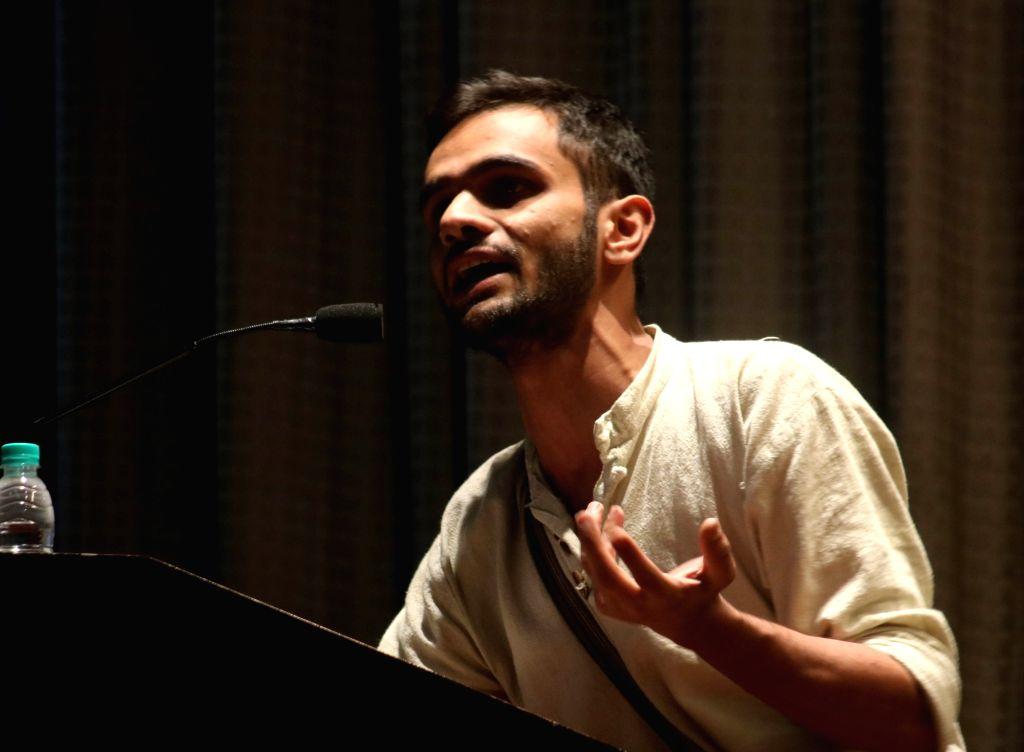 New Delhi: JNU student leader Umar Khalid addresses during Pratirodh-II in New Delhi, on April 8, 2016. (Photo: IANS)
