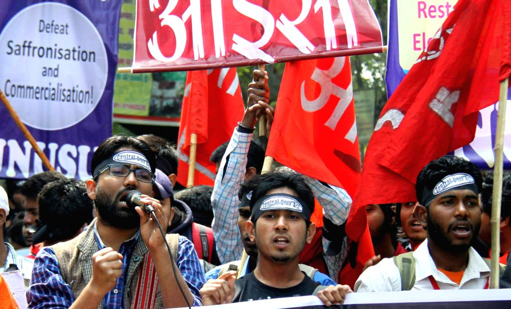 """JNU students stage a demonstration against """"Lyngdoh Committee recommendations of 2006"""" in New Delhi, on March 3, 2015."""