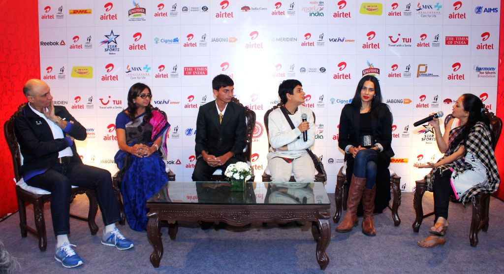 Joint MD of Procam International Limited Vivek B. Singh, business woman Nalina Suresh and others during Airtel Delhi Half Marathon - press conference at Jawaharlal Nehru Stadium in New ...