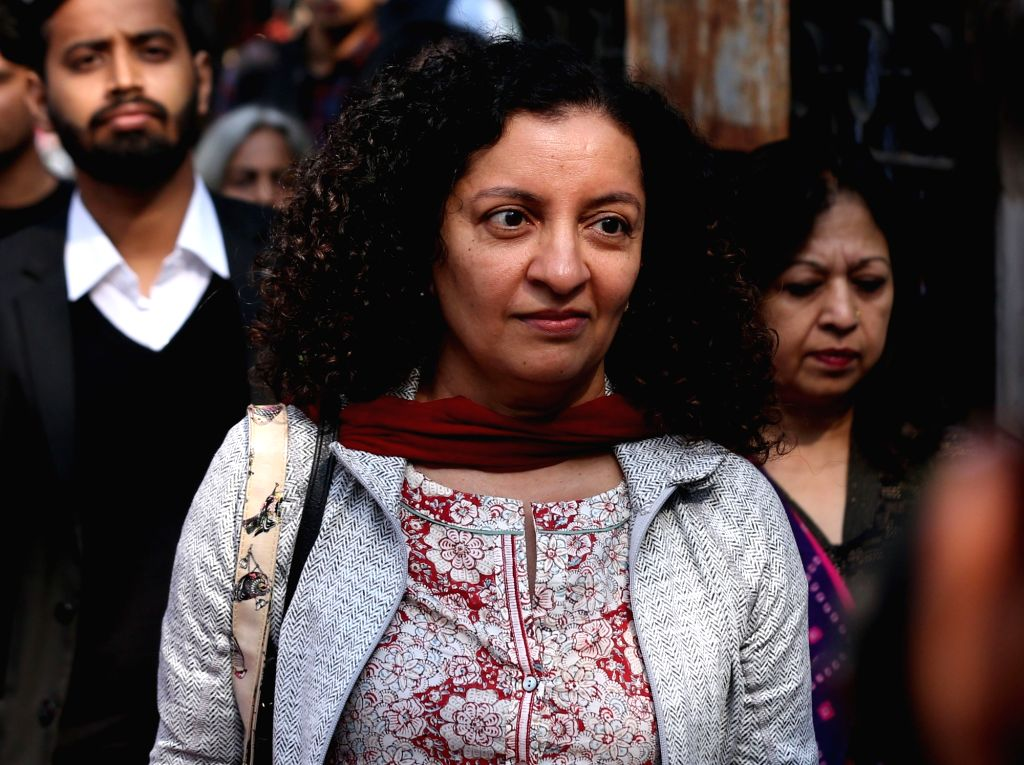 New Delhi: Journalist Priya Ramani, who appeared before a Delhi court in pursuance of summons issued against her in the defamation case filed by former Union Minister M.J. Akbar after she named him in a case of misconduct; in New Delhi. (Photo: IANS) - M.