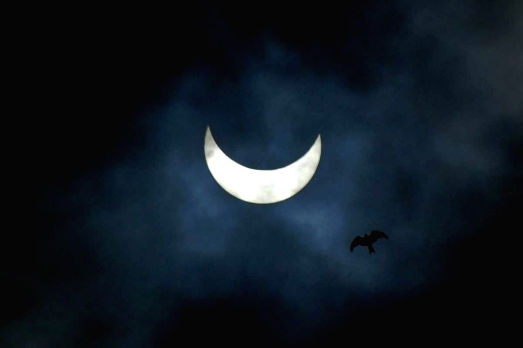 """New Delhi, June 21 (IANS) India on Sunday witnessed its deepest annular solar eclipse or 'surya grahan' of this century for over three hours with its peak in the noon giving the appearance of a """"ring of fire"""" for around 30 seconds along a narrow corr"""
