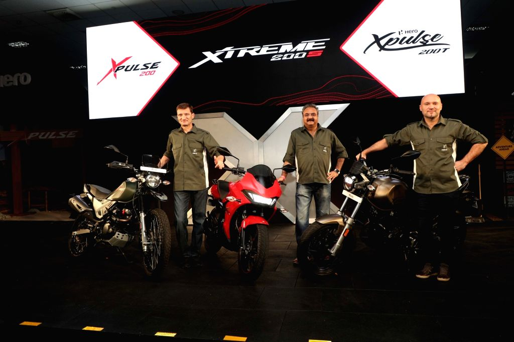 New Delhi: (L-R) Hero MotoCorp Chief Technology Officer Markus Braunsperger, Head (Sales and After Sales) Sanjay Bhan, Head (Global Product Planning) Malo Le Masson at the launch of at the launch of Hero XPulse 200, Xtreme 200S and XPulse 200T motorc