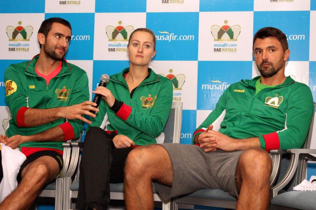 (L to R) Players of UAE Royals - IPTL team -  Marin Cilic, Kristina Mladenovic and Goran Ivanisevic during a press conference in New Delhi on Dec 8, 2014.