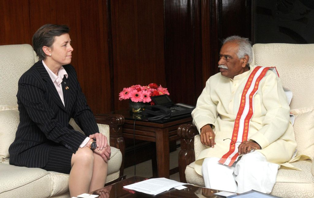 Labour Minister of Canada Dr. Kellie Leitch calls on the Union Minister of State for Labour and Employment (Independent Charge) Bandaru Dattatreya, in New Delhi on Jan 13, 2015.