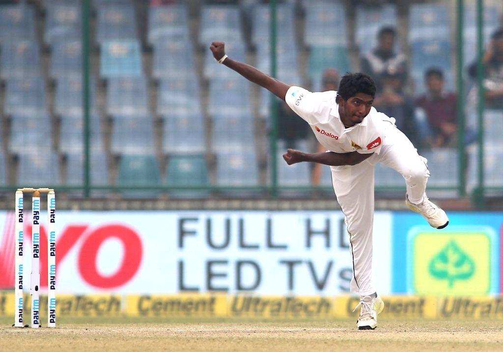 :New Delhi: Lakshan Sandakan of Sri Lanka in action on Day 4 of the third test match between India and Sri Lanka at Feroz Shah Kotla Stadium in New Delhi on Dec 5, 2017. .