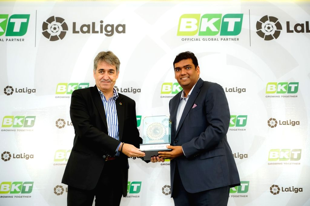 """New Delhi: LaLiga India MD Jose Antonio Cachaza and Balkrishna Industries Limited (BKT) Joint Managing Director Rajiv Poddar during a programme where BKT signed on as """"Official Global Partner"""" of LaLiga, in New Delhi on Oct 7, 2019. (Photo"""