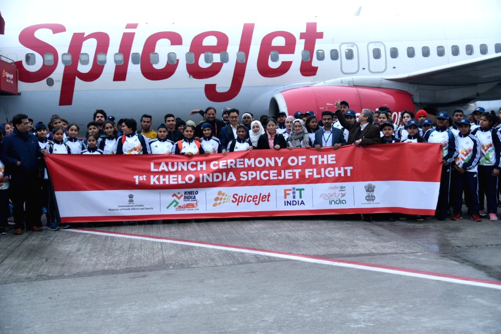 New Delhi: Launch of first Khelo India SpiceJet flight underway at the sending of ceremony of the athletes leaving for Khelo India Games, in New Delhi on Jan 8, 2020. (Photo: IANS)