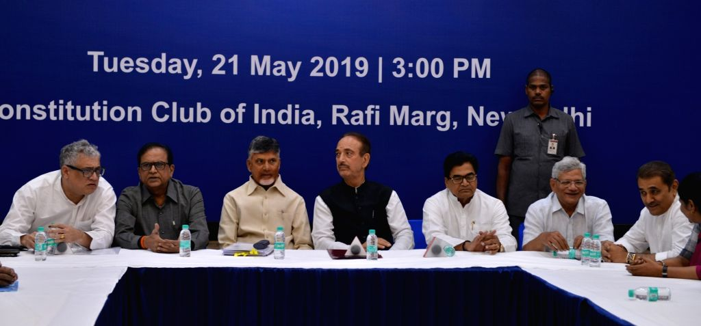 New Delhi: Leaders of opposition parties Ghulam Nabi Azad (Congress), N. Chandrababu Naidu, Ram Gopal Yadav (Samajwadi Party) Sitaram Yechury (CPI-M), Derek O'Brien (Trinamool Congress) and Praful Patel (NCP) during a meeting in New Delhi on May 21,  - Sitaram Yechury, N. Chandrababu Naidu, Gopal Yadav and Praful Patel