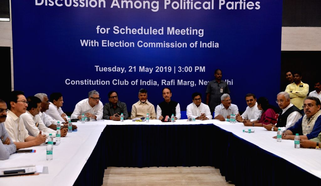New Delhi: Leaders of opposition parties Ghulam Nabi Azad (Congress), N. Chandrababu Naidu, Ram Gopal Yadav (Samajwadi Party) Sitaram Yechury (CPI-M). Arvind Kejriwal (AAP), Derek O'Brien (Trinamool Congress), Ashok Gehlot (Congress) and D Raja (CPI) - Sitaram Yechury, N. Chandrababu Naidu, Gopal Yadav and Arvind Kejriwal