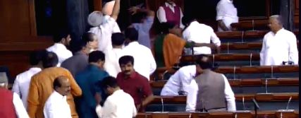 New Delhi: Legislators of opposition parties, including the Congress, DMK and Trinamool Congress, walk out of the Lok Sabha over the situation in Karnataka where several Congress and JD-S MLAs have quit, putting the coalition government in a crisis;