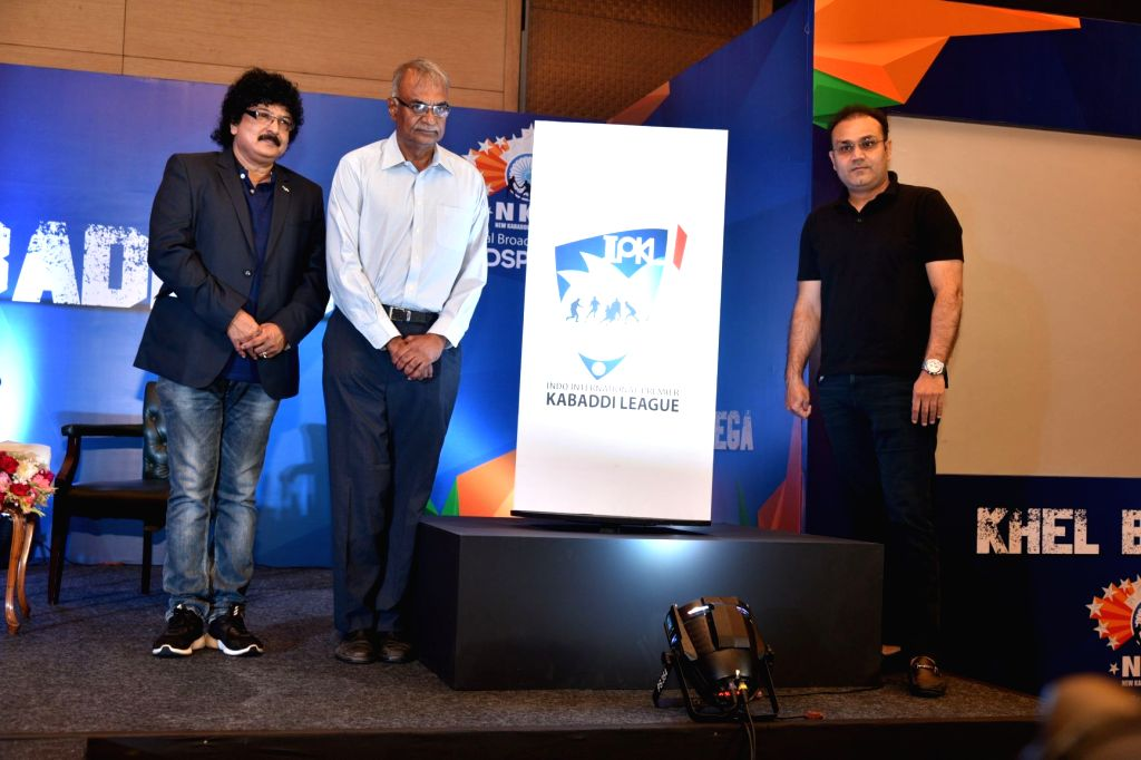New Delhi: Lex Sportel MD and CEO RC Venkateish, former Indian cricketer Virender Sehwag and Indo International Premier Kabaddi League (IPKL) Director Ravi Kiran during a programme to announce the dates for the first edition of the Indo International